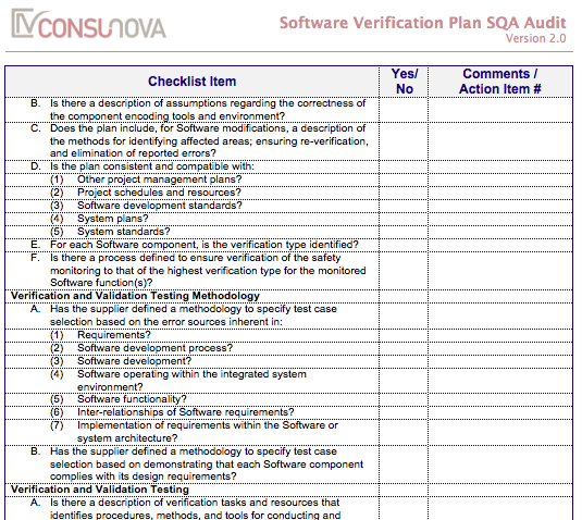 DO-178 SQA Verification Plan Audit (SVP)