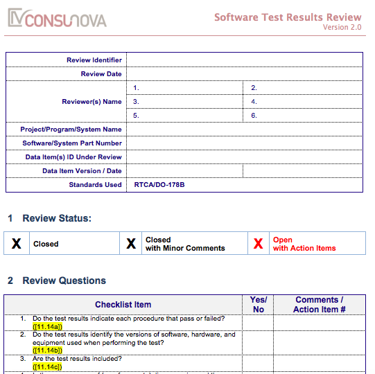 DO-178 Test Results Checklist