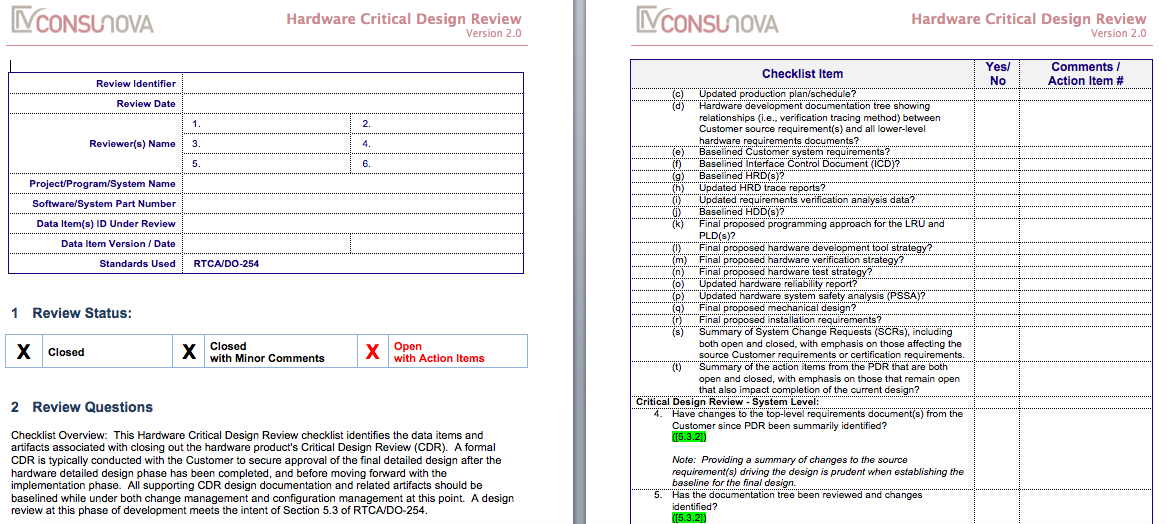 DO-254 Critical Design Review Checklist (CDR)