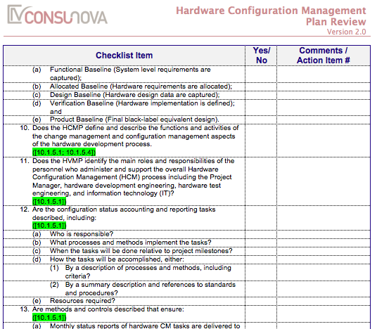 DO-254 Configuration Management Plan Checklis