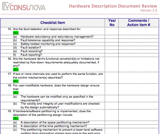 DO-254 Description Document Checklist (HDD)