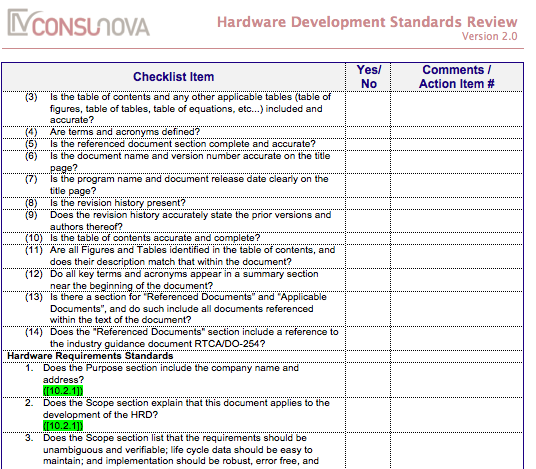 DO-254 Development Standards Checklist (HDS)