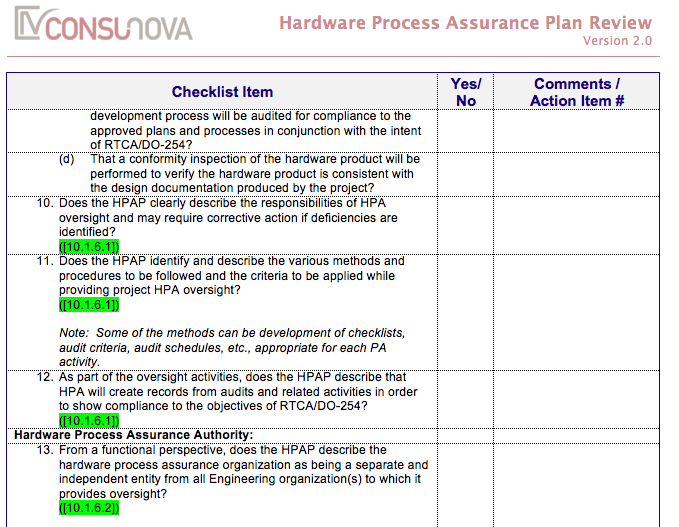 DO-254 Process Assurance Checklist (HPAP)