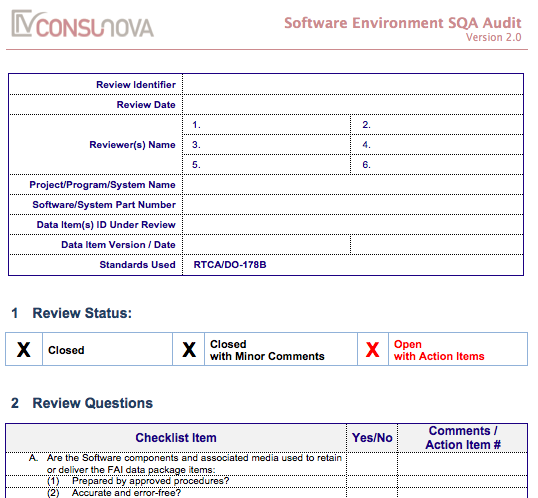 DO-178 SQA Software Environment Audit